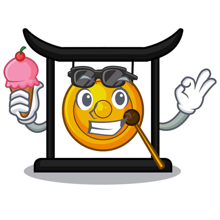 With ice cream golden gong in the cartoon room vector illustration