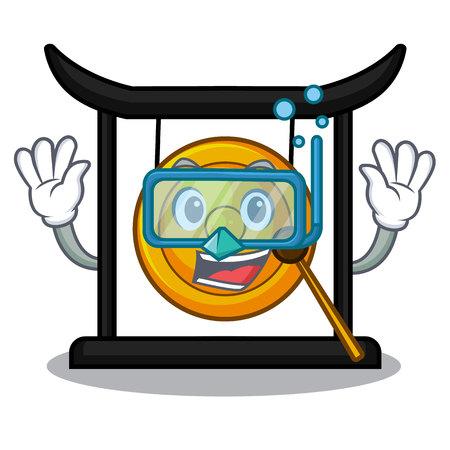 Diving golden gong in the cartoon room vector illustration