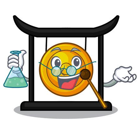 Professor golden gong in the cartoon room vector illustration