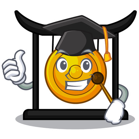 Graduation golden gong in the cartoon room vector illustration