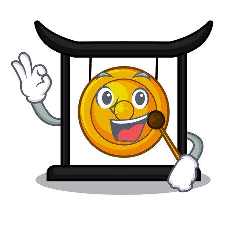 Okay golden gong in the cartoon room vector illustration