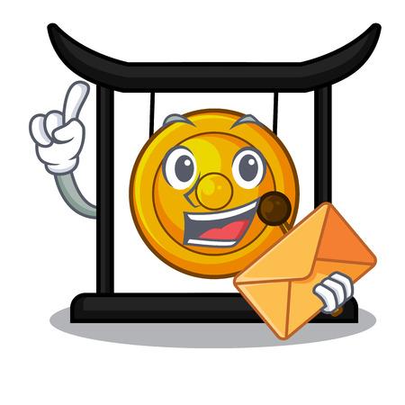 With envelope golden gong in the cartoon room vector illustration Ilustração