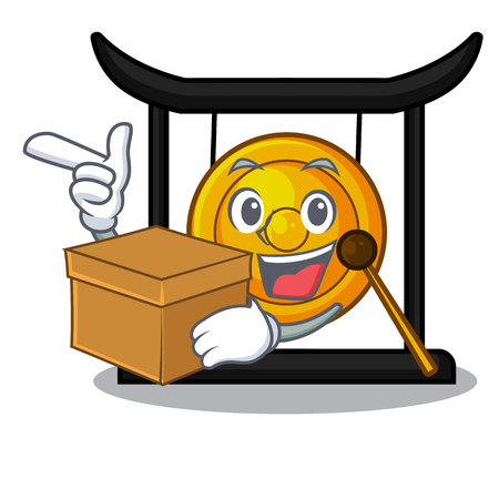 With box golden gong in the cartoon room vector illustration