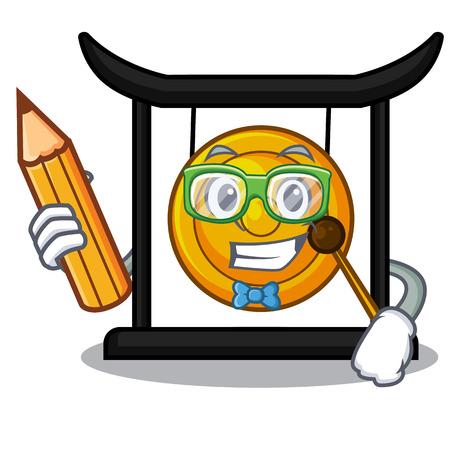 Student golden gong in the cartoon room vector illustration Illustration