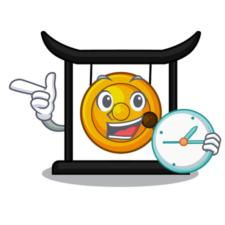 With clock golden gong in the cartoon room vector illustration Illustration