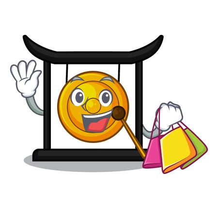 Shopping golden gong in the cartoon room vector illustration Illustration