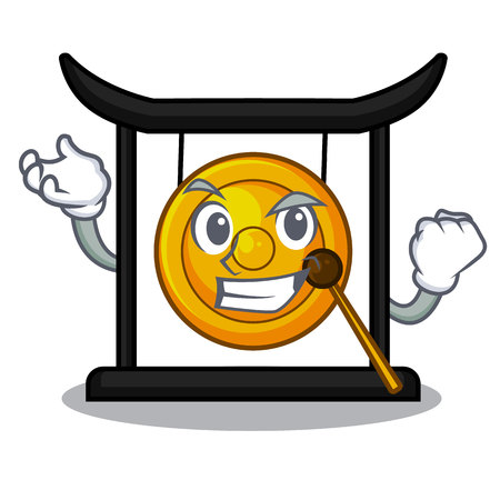 Successful golden gong in the cartoon room vector illustration