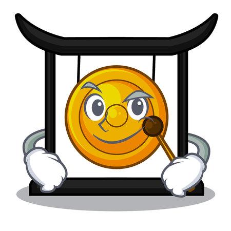 Smirking golden gong in the cartoon room vector illustration