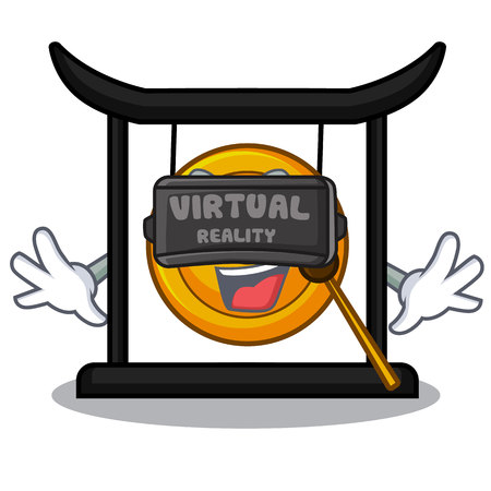 Gong doré de réalité virtuelle isolé avec l'illustration vectorielle de mascotte