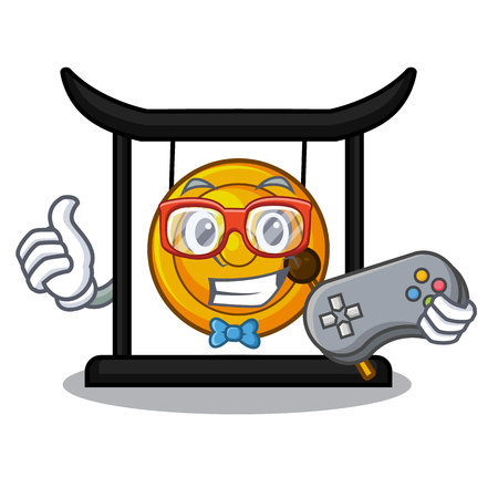 Gamer golden gong isolated with the mascot vector illustration