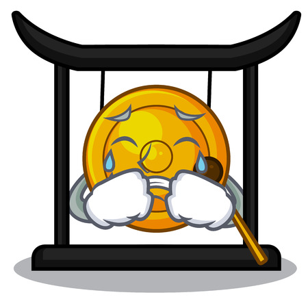 Crying golden gong isolated with the mascot vector illustration