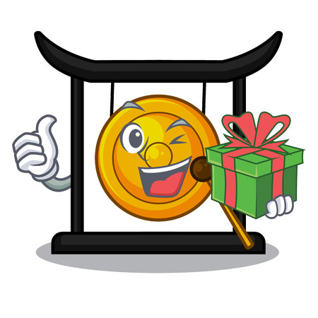 With gift golden gong isolated with the mascot vector illustration Banque d'images - 118073993