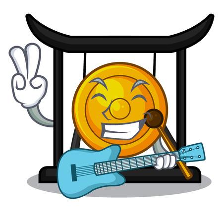 Avec guitare gong doré isolé avec l'illustration vectorielle mascotte