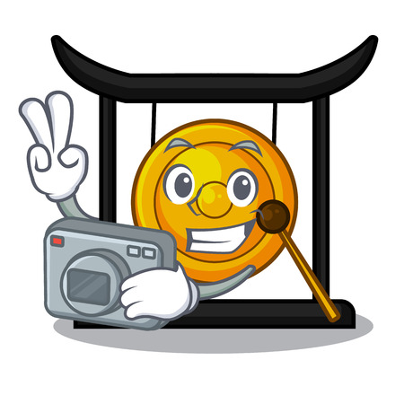 Photographer golden gong isolated with the mascot vector illustration