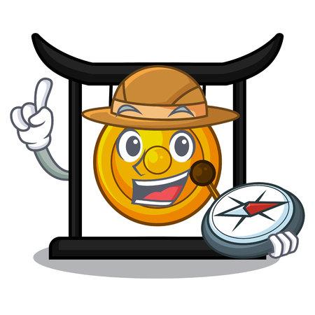 Gong d'or d'explorateur d'isolement avec l'illustration de vecteur de mascotte Vecteurs