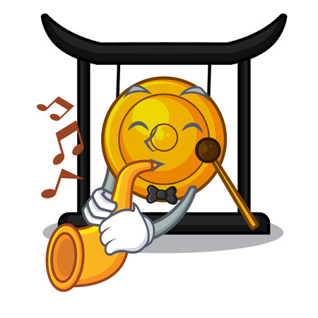 With trumpet golden gong isolated with the mascot vector illustration Banque d'images - 118074065