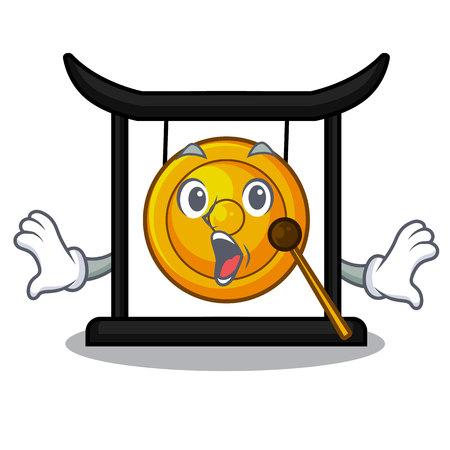 Gong doré surpris isolé avec l'illustration vectorielle de mascotte Vecteurs