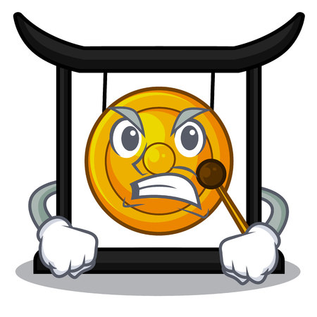 Angry golden gong isolated with the mascot vector illustration