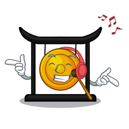 Listening music golden gong isolated with the mascot vector illustration
