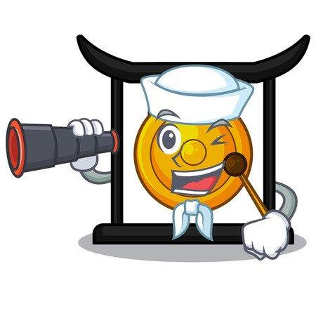 Sailor with binocular golden gong isolated with the mascot vector illustration Banque d'images - 118074081