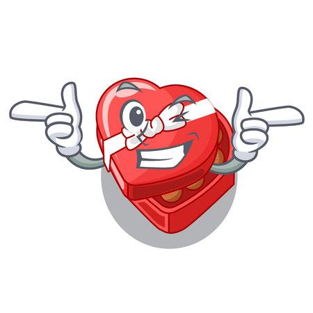Wink choclate heart box in shape mascot vector illustration