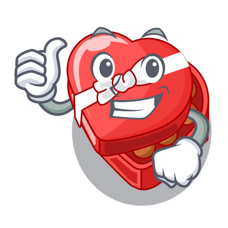 Thumbs up choclate heart box in shape mascot vector illustration Illustration