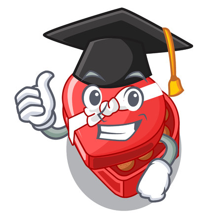 Graduation chocolate heart box in shape mascot vector illustration Ilustrace