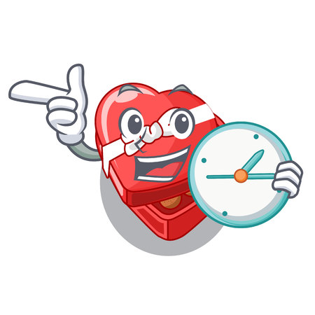 With clock choclate heart box in shape mascot vector illustration