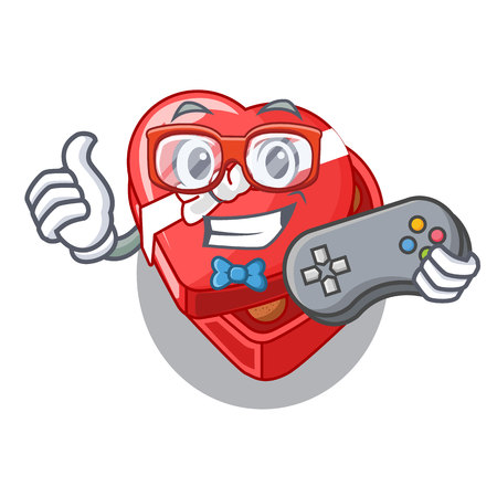 Gamer chovolate heart box isolated with characters vector illustration
