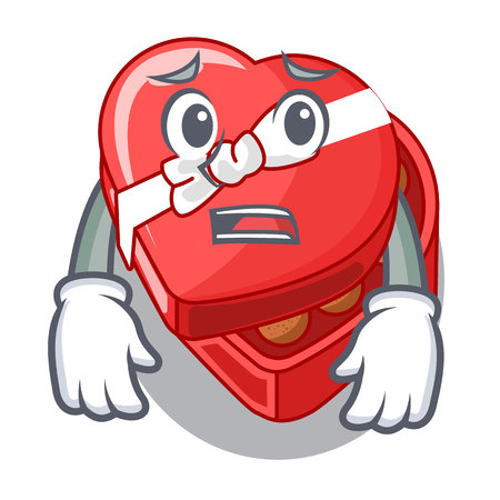 Afraid chovolate heart box isolated with characters vector illustration Banco de Imagens - 124748429