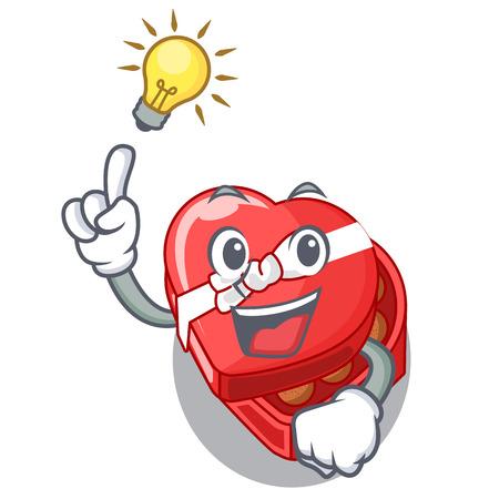 Have an idea chocolate heart box above cartoon fridge vector illustartion