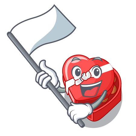 With flag chocolate heart box above cartoon fridge vector illustartion Imagens - 124748461