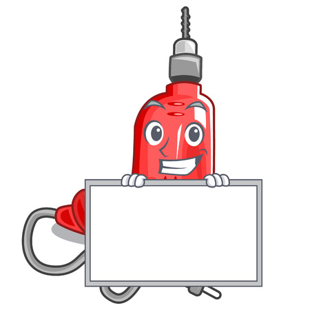 Grinning with board electric drill in the cartoon shape vector illustration