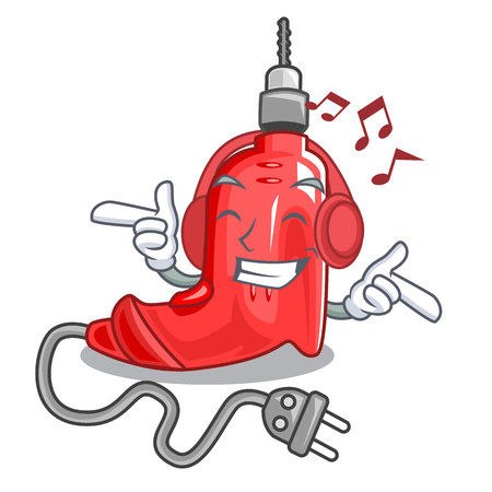 Listening music electric drill isolated with the mascot vector illustration