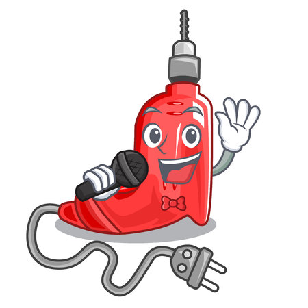 Singing electric drill isolated with the mascot vector illustration