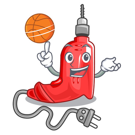 With basketball electric drill in the cartoon shape vector illustration
