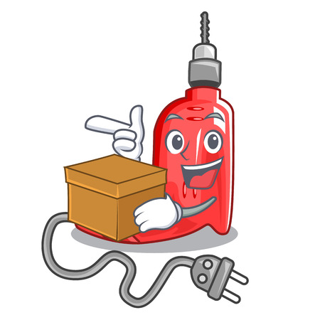 With box electric drill above character wooden table vector illustration