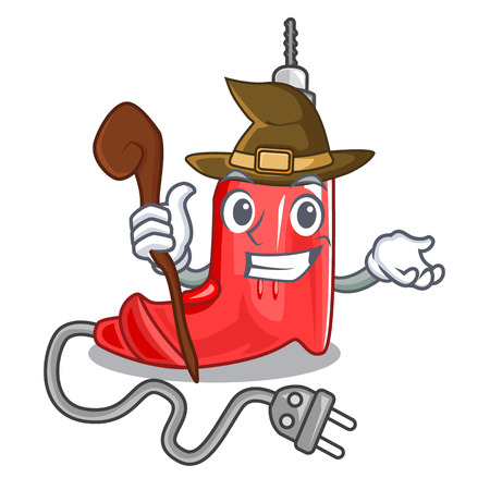 Witch electric drill isolated with the mascot vector illustration