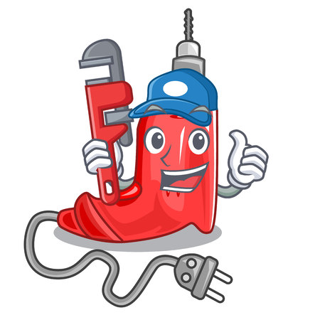 Plumber electric drill in the cartoon box vector illustration