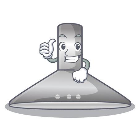 Thumbs up kichen hood in the mascot shape vector illustration