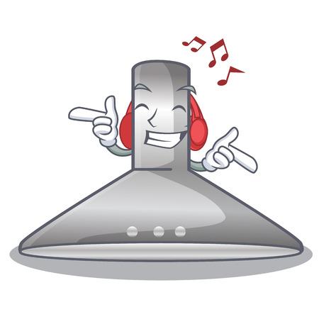 Listening music kitchen hood isolated with the cartoon vector illustration