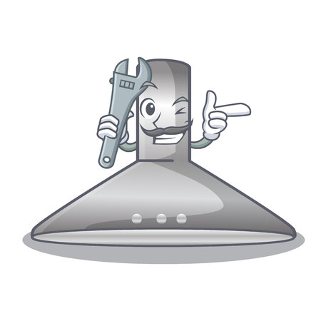 Mechanic kitchen hood cartoon the for cooking vector illustration Çizim
