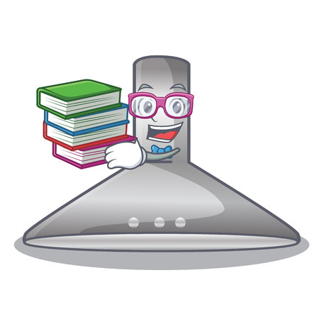 Student with book kitchen hood cartoon the for cooking vector illustration Çizim