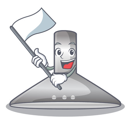 With flag kitchen hood cartoon the for cooking vector illustration