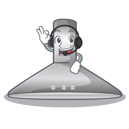 With headphone kitchen hood cartoon the for cooking vector illustration