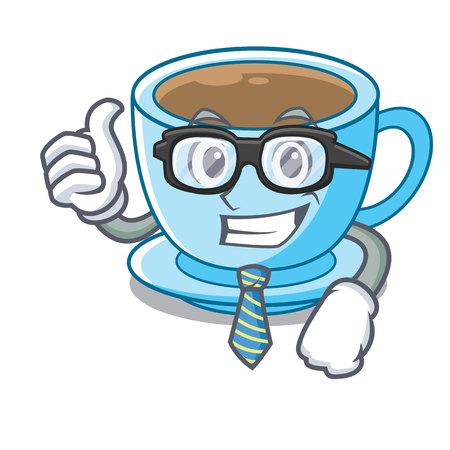 Businessman cup milk tea above cartoon table vector ilustration Foto de archivo - 124733064