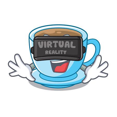 Virtual reality milk tea in character the shape vector illustration