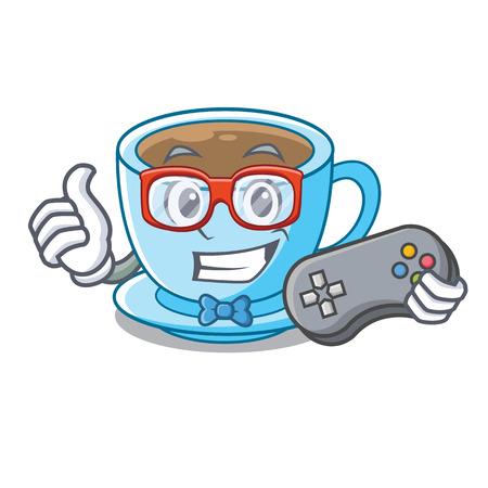 Gamer milk tea in character the shape vector illustration