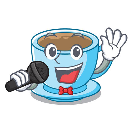 Singing milk tea in character the shape vector illustration