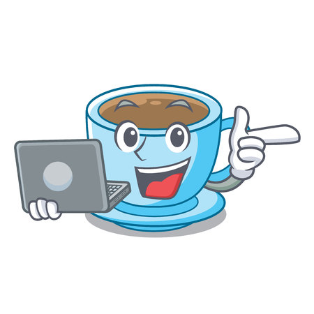 With laptop cup of delicious cartoon milk tea vector